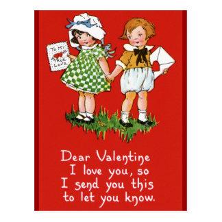 Vintagen Valentines für Kinder Postkarte