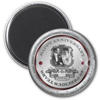 Vintager 40. Jahrestag ID195 Runder Magnet 5,1 Cm