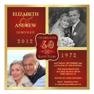 Vintager 40. Jahrestags-extravagantes Foto 2 lädt Quadratische 13,3 Cm Einladungskarte