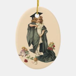Vintager Abschluss, Glückwunsch-Absolvent! Ovales Keramik Ornament