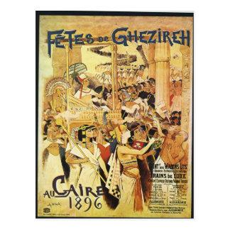 Vintager ägyptischer Themed Bahndruck Postkarte
