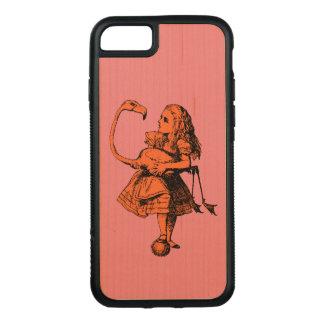 Vintager Alice im Wunderland-Flamingo Carved iPhone 8/7 Hülle
