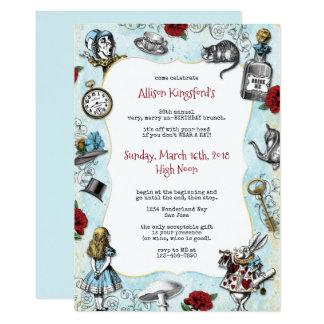 Vintager Alice im Wunderland-Geburtstag 12,7 X 17,8 Cm Einladungskarte