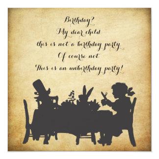Vintager Alice im Wunderland-Tee-Party-Geburtstag Quadratische 13,3 Cm Einladungskarte