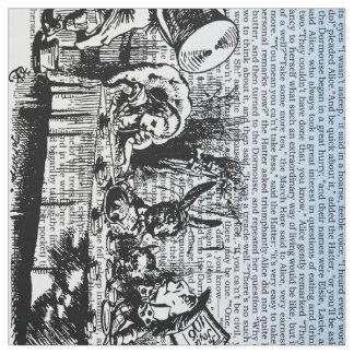 Vintager Alice-Text und doppeltes Grenzblau Stoff