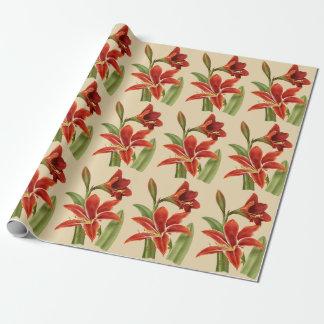 Vintager Amaryllis-Weihnachtsbeifall (Fahrwerk. Geschenkpapier