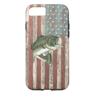 Vintager Amerika-Flaggen-Bass-Fischen-Fall iPhone 8/7 Hülle