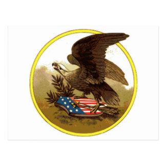 Vintager amerikanischer kahler Adler auf Schild Postkarte