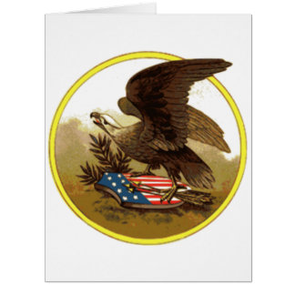 Vintager amerikanischer kahler Adler auf Schild Riesige Grußkarte