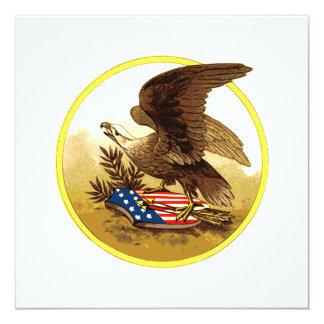Vintager amerikanischer kahler Adler Quadratische 13,3 Cm Einladungskarte