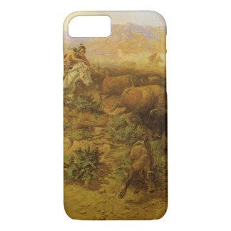 Vintager amerikanischer Ureinwohner, Büffel-Jagd iPhone 8/7 Hülle