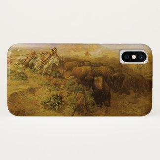 Vintager amerikanischer Ureinwohner, Büffel-Jagd iPhone X Hülle