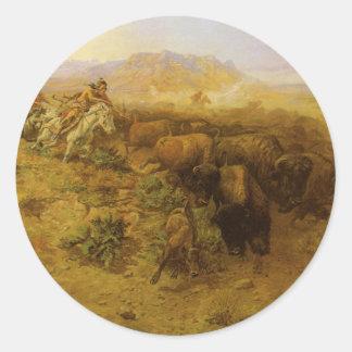 Vintager amerikanischer Ureinwohner, Büffel-Jagd Runder Aufkleber