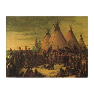 Vintager amerikanischer Ureinwohner, Holzwanddeko