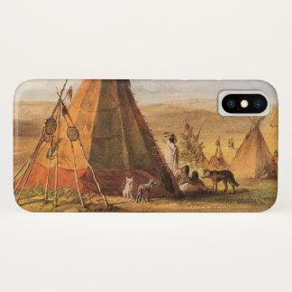 Vintager amerikanischer Westen, Teepees auf Ebene iPhone X Hülle