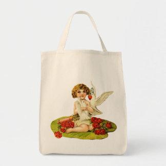 Vintager Amor auf Lilien-Auflage Einkaufstasche