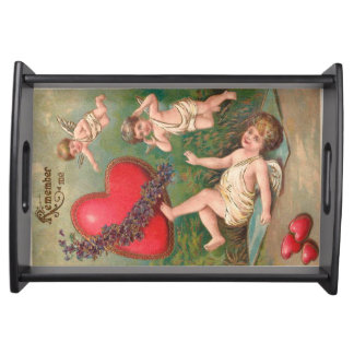 Vintager Amor-Engel-rote Herzenvalentine-Postkarte Tabletts
