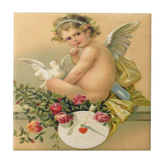 Vintager, Amor-Engel, Taube und Rosen Kleine Quadratische Fliese