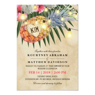 Vintager Ananas-Strand-tropische Hochzeit 12,7 X 17,8 Cm Einladungskarte