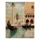 Vintager antiker Gondel-Schrein Italiens Venedig Poster