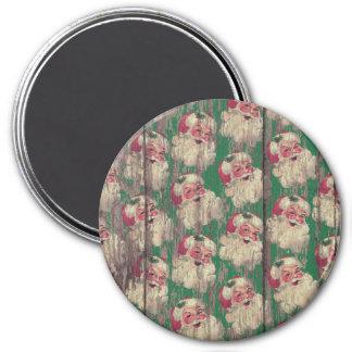 Vintager antiker hölzerner Sankt-Feiertags-Magnet Runder Magnet 7,6 Cm