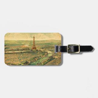 Vintager antiker Paris-Druck Gepäckanhänger