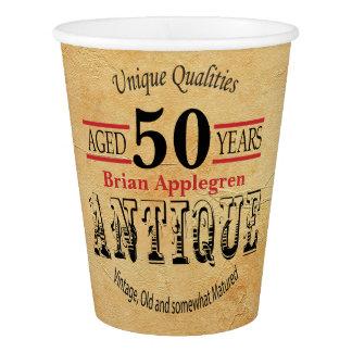 Vintager, antiker und 50. Geburtstags-Entwurf Pappbecher