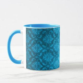 Vintager Aqua-Blau-Damast Tasse