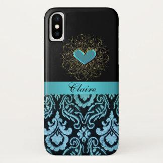 Vintager Aqua-Damast mit Herz iPhone X Fall iPhone X Hülle
