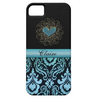Vintager Aqua-Damast mit Herz-personalisiertem Hülle Fürs iPhone 5