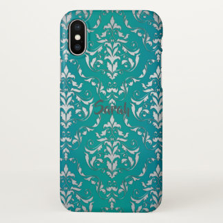 Vintager aquamariner Damast personalisierter iPhone X Hülle