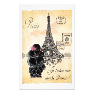 Vintager Art-Schwarz-Pudel-Eiffel-Turm-Druck Individuelles Büropapier