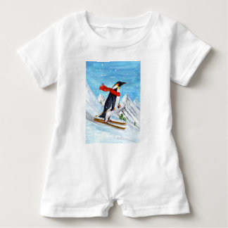 Vintager Artpenguin-Abfahrtskilauf Baby Strampler