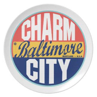Vintager Aufkleber Baltimores Teller