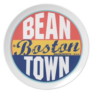 Vintager Aufkleber Bostons Teller
