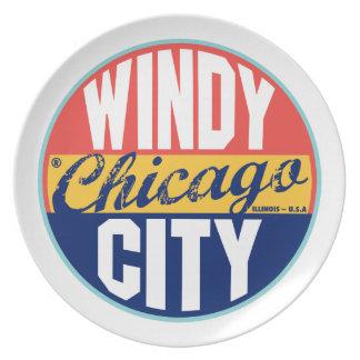 Vintager Aufkleber Chicagos Flache Teller