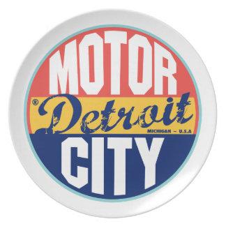 Vintager Aufkleber Detroits Flacher Teller