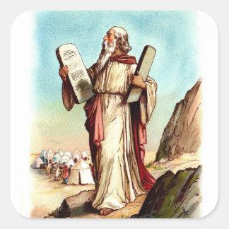 Vintager Aufkleber-Moses und die zehn Gebote Quadratischer Aufkleber