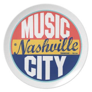 Vintager Aufkleber Nashvilles Teller