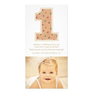Vintager Baby-Mädchen-1. Geburtstag danken Ihnen Photo Karte