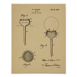 Vintager Ball-T-Stück Geschmacksmuster-Kunst-Druck Poster
