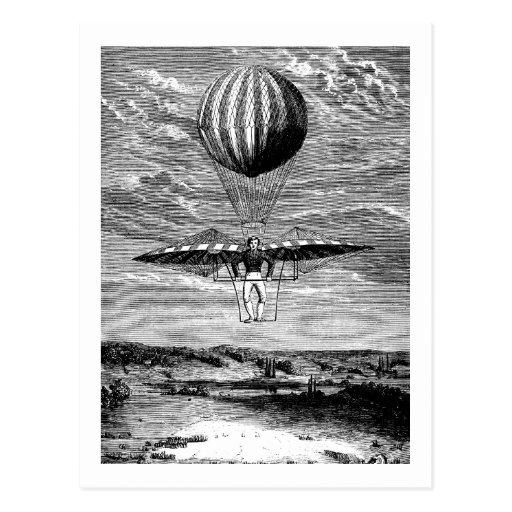 Vintager BallonBalloonist mit Fallschirm Postkarten
