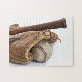 Vintager Baseball und Schläger Puzzle