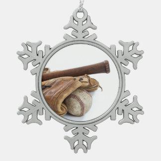 Vintager Baseball und Schläger Schneeflocken Zinn-Ornament