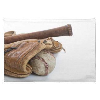 Vintager Baseball und Schläger Stofftischset
