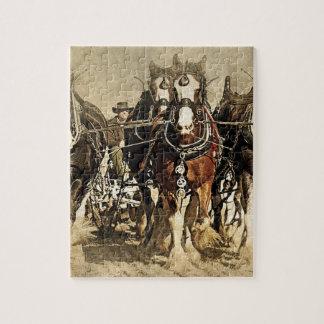 Vintager Bauer mit Pferdepuzzlespiel Puzzle