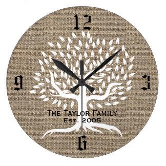 Vintager Baum-rustikaler Leinwand-Familienname Uhren