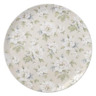 Vintager beige Blumenentwurf Party Teller