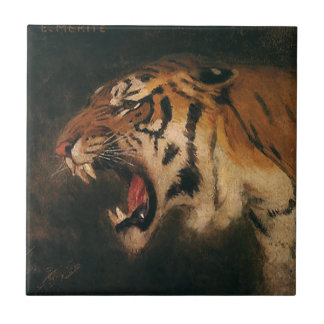 Vintager bengalischer brüllende Tiger-große Katze, Keramikfliese