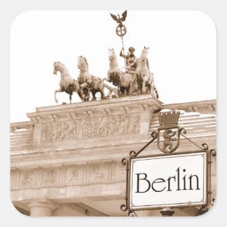 Vintager Berlin-Entwurf Quadrat-Aufkleber